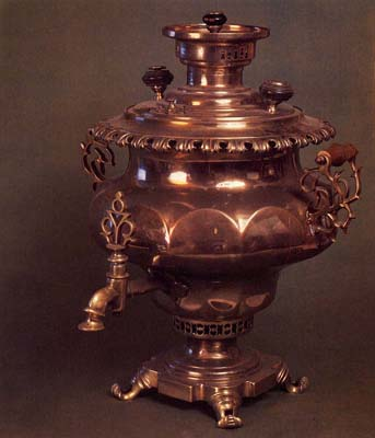 Vase-shaped samovar with medallions. Mid-19th cent.