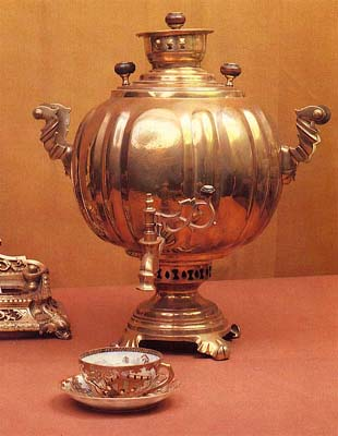 Globe-shaped samovar with ovals. Late 19th cent.
