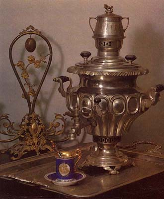 Vase-shaped samovar with medallions. Late 19th cent.